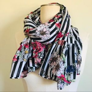 Awesome Colorful Floral B & W Striped Print Scarf